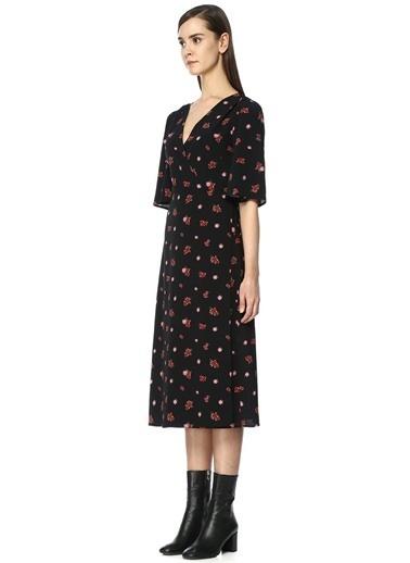 Desenli Uzun Anvelop Elbise-Academia
